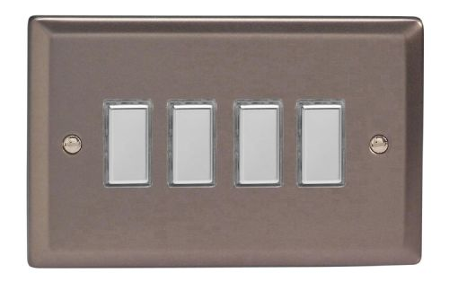 Varilight JRES004 Classic Pewter 4 Gang Touch Dimming Slave (use with V-Pro Master)